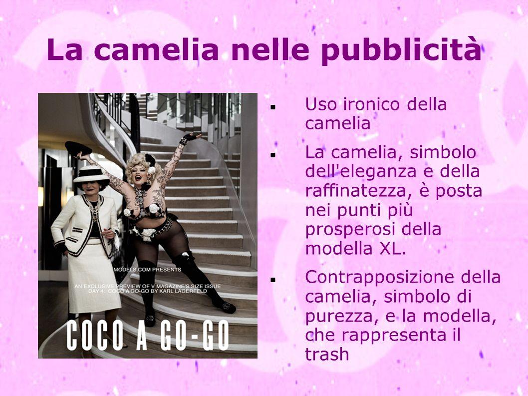 La camelia nelle pubblicità Uso ironico della camelia La camelia, simbolo dell'eleganza e della raffinatezza, è posta nei punti più prosperosi della m