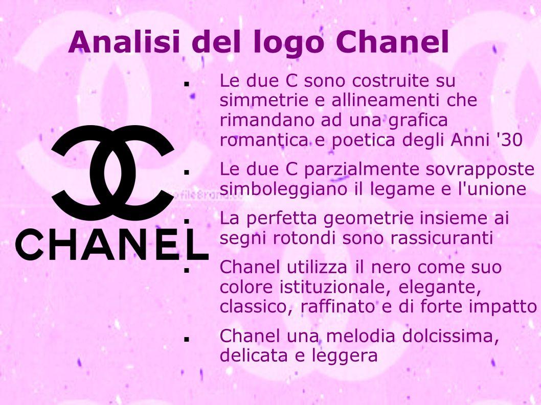 Analisi del logo Chanel Le due C sono costruite su simmetrie e allineamenti che rimandano ad una grafica romantica e poetica degli Anni '30 Le due C p