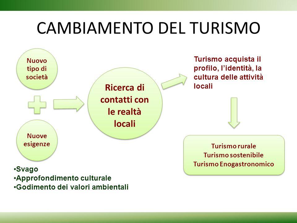 CAMBIAMENTO DEL TURISMO Nuovo tipo di società Nuove esigenze Ricerca di contatti con le realtà locali Turismo acquista il profilo, lidentità, la cultu