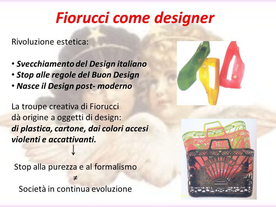 Fiorucci come designer Rivoluzione estetica: Svecchiamento del Design italiano Stop alle regole del Buon Design Nasce il Design post- moderno La troup