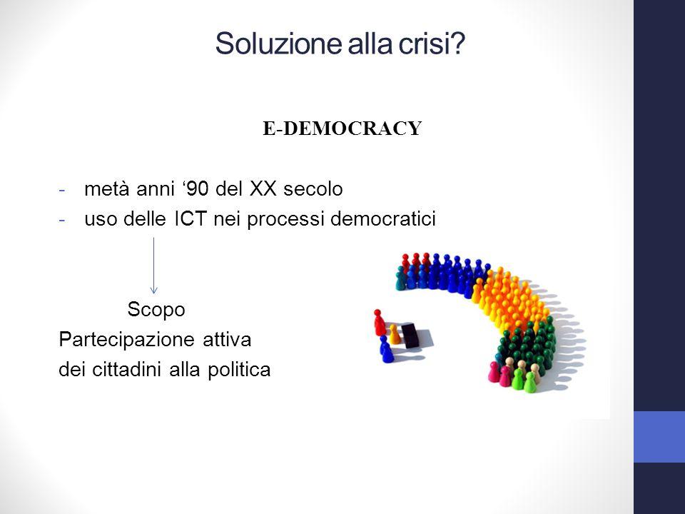 E-DEMOCRACY -metà anni 90 del XX secolo -uso delle ICT nei processi democratici Scopo Partecipazione attiva dei cittadini alla politica Soluzione alla crisi