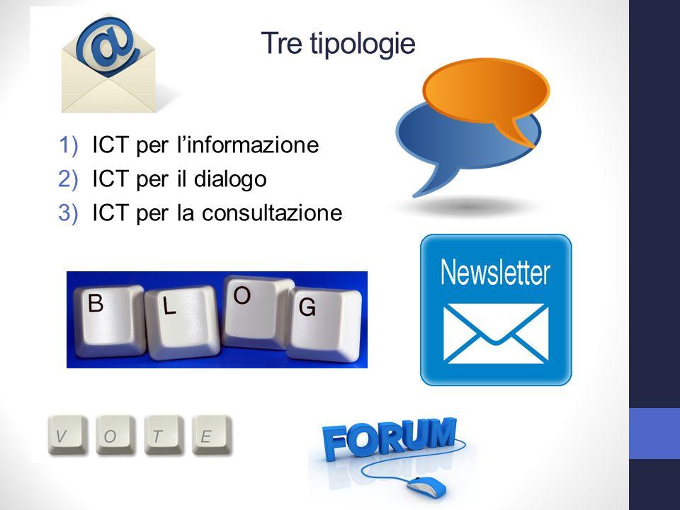 1)ICT per linformazione 2)ICT per il dialogo 3)ICT per la consultazione Tre tipologie