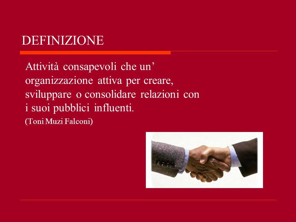 DEFINIZIONE Attività consapevoli che un organizzazione attiva per creare, sviluppare o consolidare relazioni con i suoi pubblici influenti. (Toni Muzi