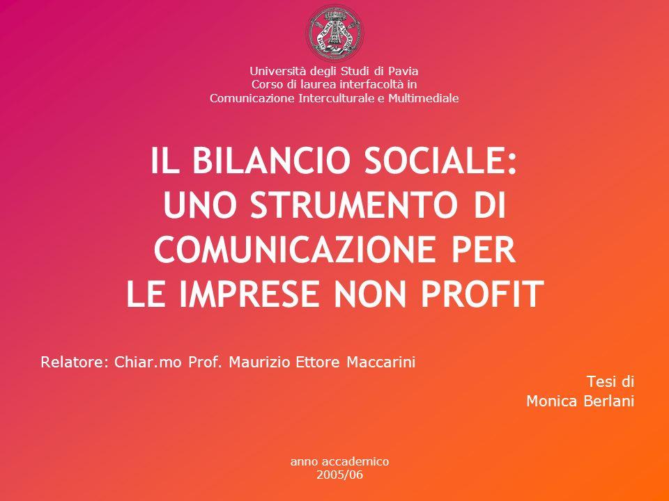 IL BILANCIO SOCIALE: UNO STRUMENTO DI COMUNICAZIONE PER LE IMPRESE NON PROFIT Relatore: Chiar.mo Prof.