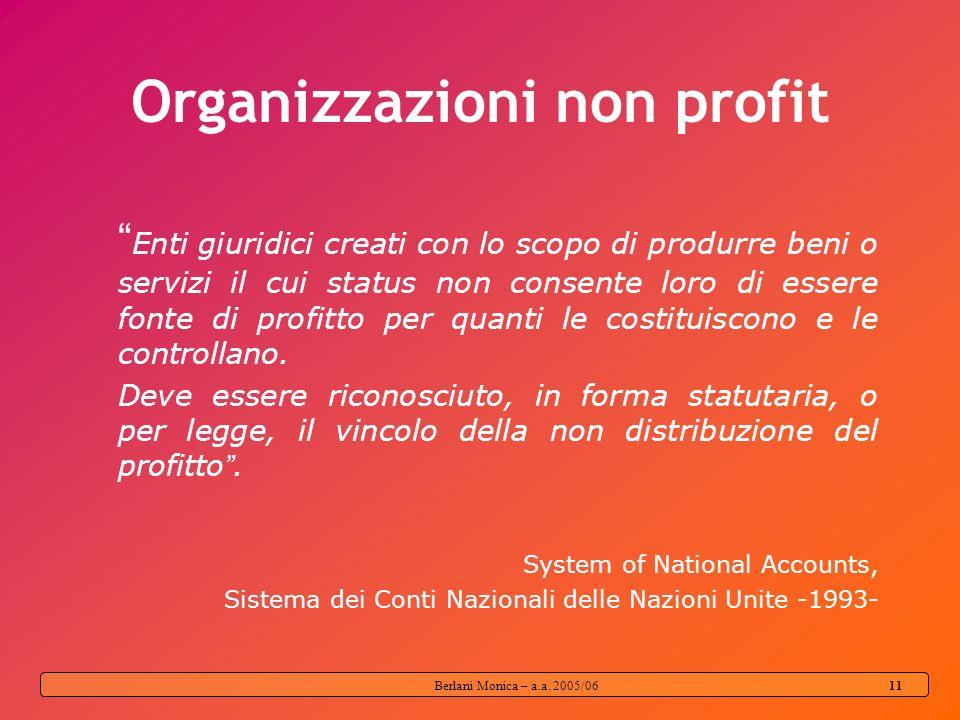 Berlani Monica – a.a. 2005/06 10 Sia per Imprese profit oriented Enti non profit