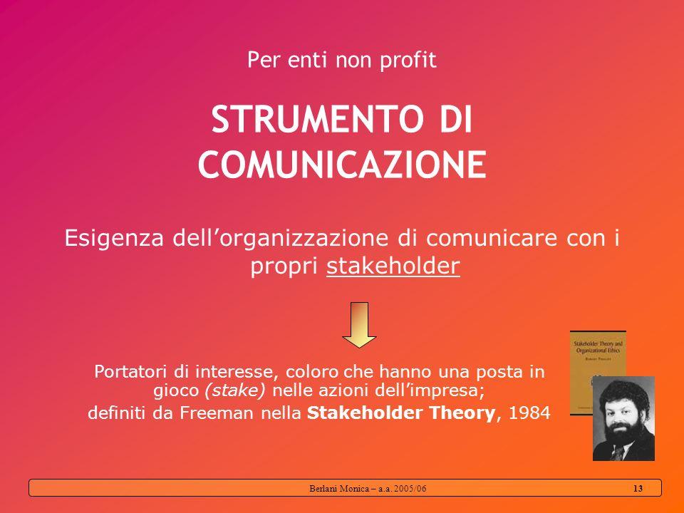 Berlani Monica – a.a. 2005/06 12 Peculiarità del non profit Impegno sociale Rappresenta lelemento centrale, il fondamento stesso dellagire delle organ
