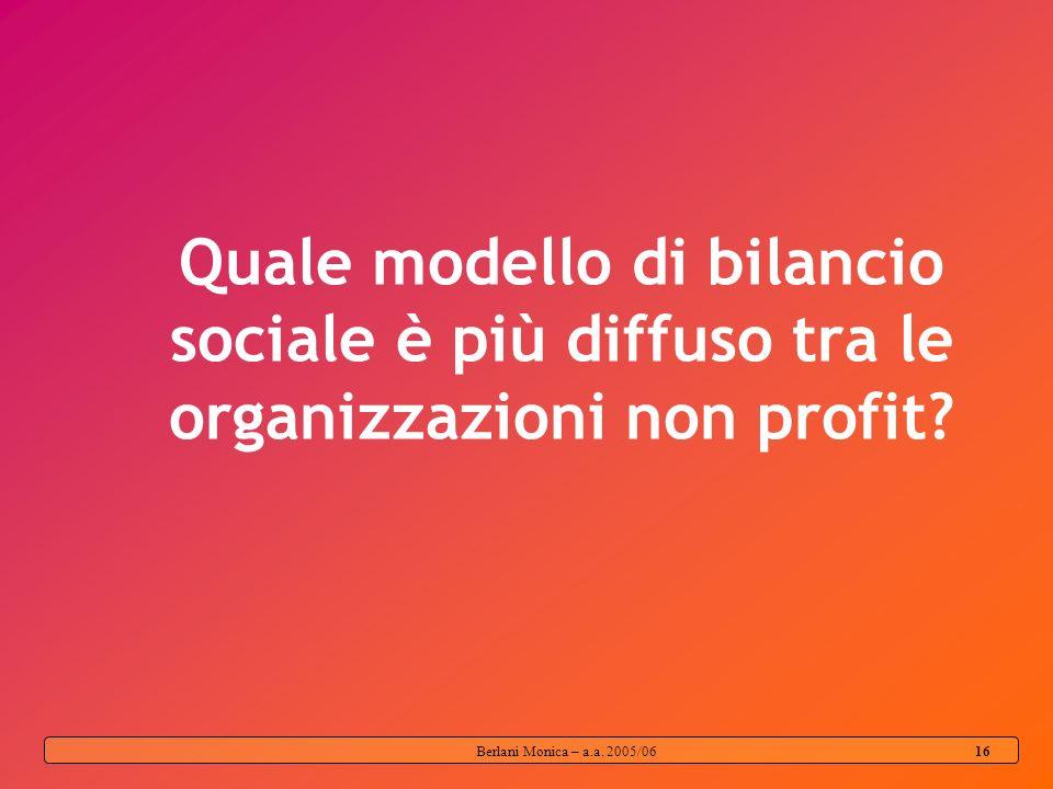 Berlani Monica – a.a. 2005/06 15 Comunicazione Organizzazione stakeholder Il Bilancio Sociale permette una comunicazione Bidirezionale Mission, valori