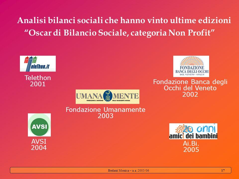 Berlani Monica – a.a. 2005/06 16 Quale modello di bilancio sociale è più diffuso tra le organizzazioni non profit?
