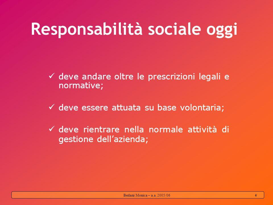 Berlani Monica – a.a. 2005/06 3 RESPONSABILITÀ SOCIALE Lintegrazione volontaria, da parte delle imprese, delle preoccupazioni sociali e ambientali nel