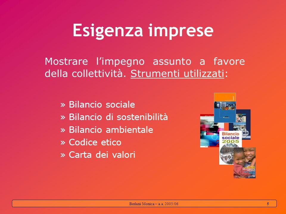 Berlani Monica – a.a. 2005/06 4 Responsabilità sociale oggi deve andare oltre le prescrizioni legali e normative; deve essere attuata su base volontar