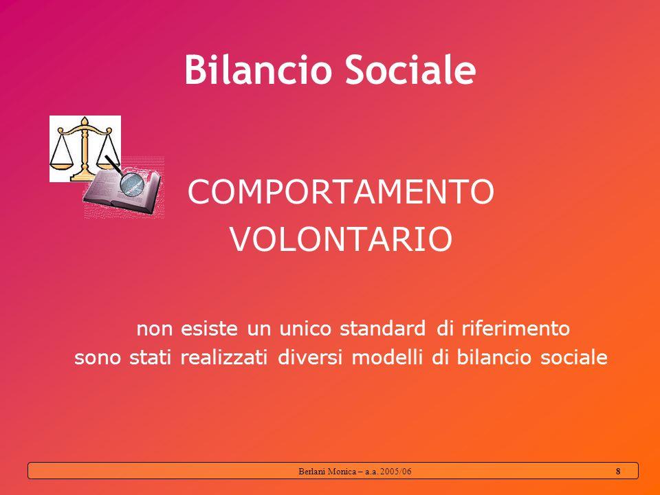 Berlani Monica – a.a. 2005/06 7 Funzioni del bilancio sociale Strumento di rendicontazione Strumento di comunicazione Strumento di riflessività intern