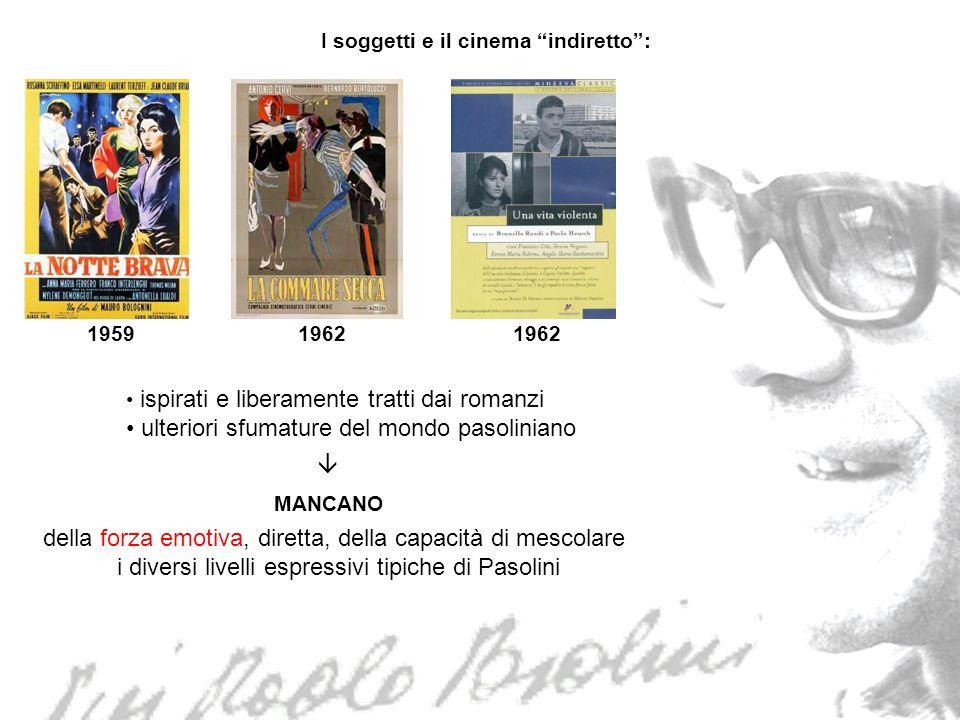 19591962 I soggetti e il cinema indiretto: ispirati e liberamente tratti dai romanzi ulteriori sfumature del mondo pasoliniano MANCANO della forza emo