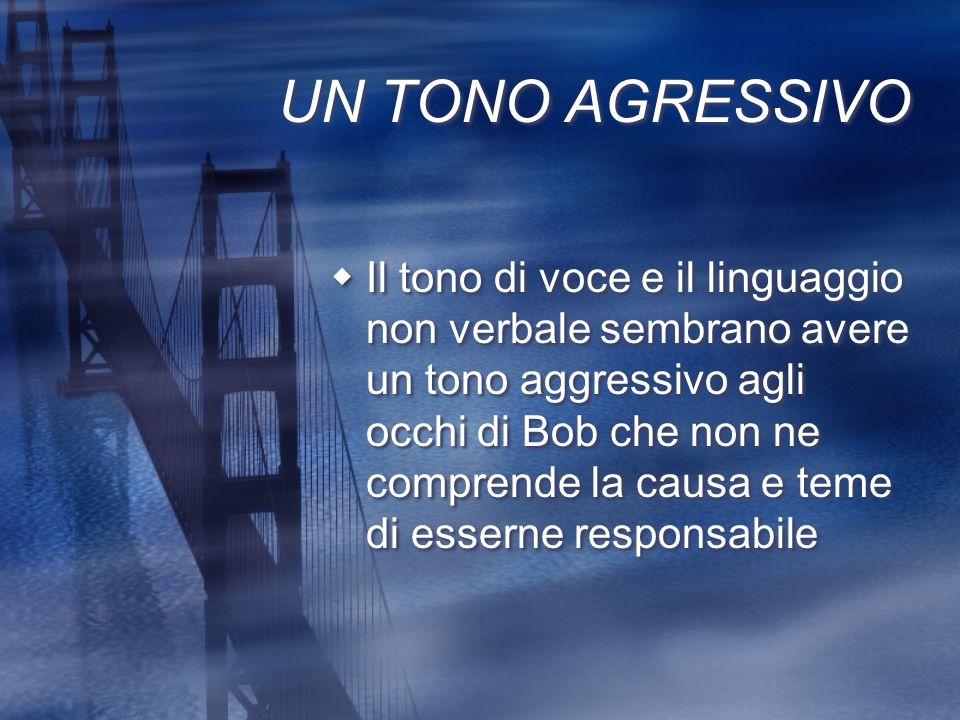UN TONO AGRESSIVO Il tono di voce e il linguaggio non verbale sembrano avere un tono aggressivo agli occhi di Bob che non ne comprende la causa e teme