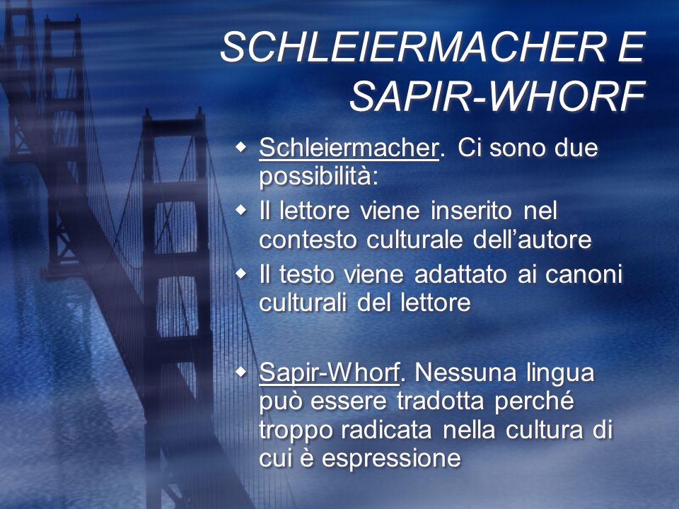 SCHLEIERMACHER E SAPIR-WHORF Schleiermacher. Ci sono due possibilità: Il lettore viene inserito nel contesto culturale dellautore Il testo viene adatt