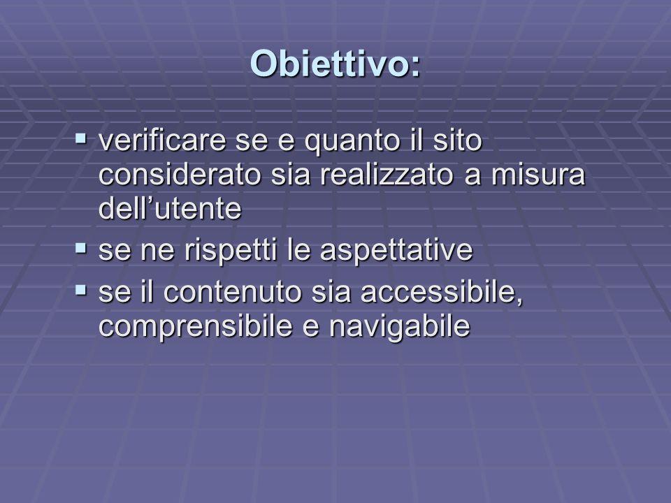 Obiettivo: verificare se e quanto il sito considerato sia realizzato a misura dellutente verificare se e quanto il sito considerato sia realizzato a m