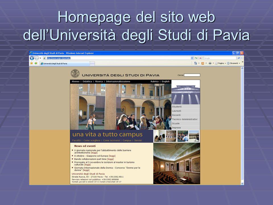 Homepage del sito web dellUniversità degli Studi di Pavia