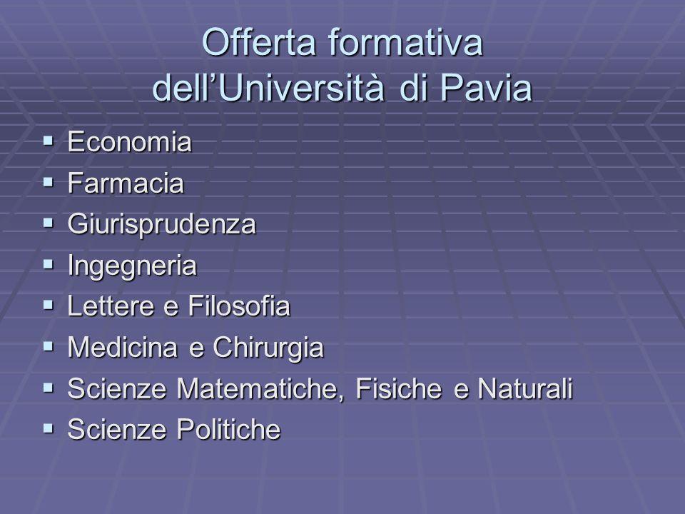 Offerta formativa dellUniversità di Pavia Economia Economia Farmacia Farmacia Giurisprudenza Giurisprudenza Ingegneria Ingegneria Lettere e Filosofia