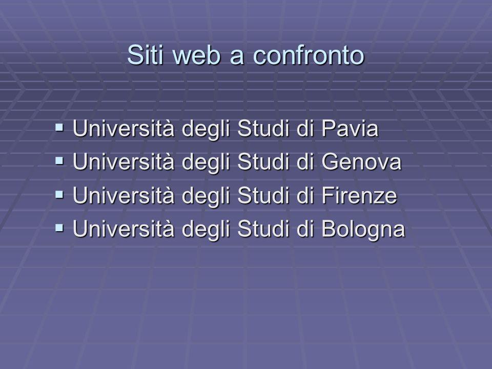Siti web a confronto Università degli Studi di Pavia Università degli Studi di Pavia Università degli Studi di Genova Università degli Studi di Genova
