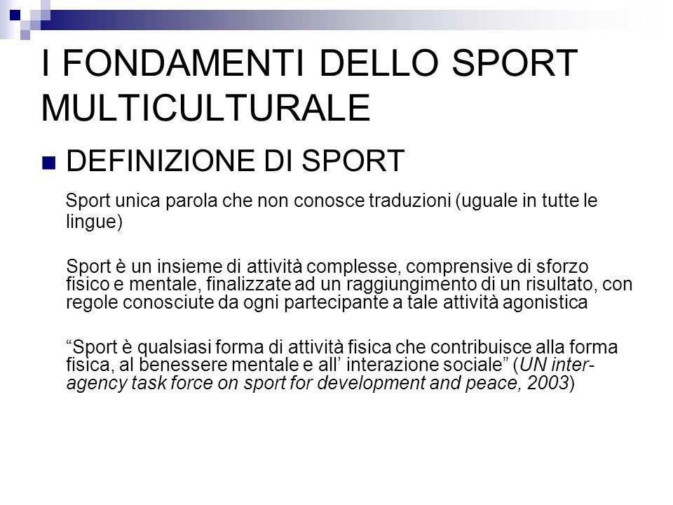I FONDAMENTI DELLO SPORT MULTICULTURALE DEFINIZIONE DI SPORT Sport unica parola che non conosce traduzioni (uguale in tutte le lingue) Sport è un insi