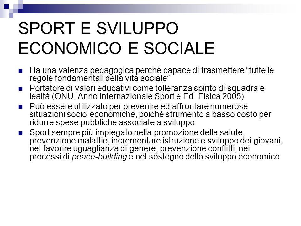 SPORT E SVILUPPO ECONOMICO E SOCIALE Ha una valenza pedagogica perchè capace di trasmettere tutte le regole fondamentali della vita sociale Portatore