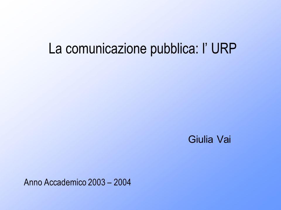 La comunicazione pubblica: l URP Giulia Vai Anno Accademico 2003 – 2004