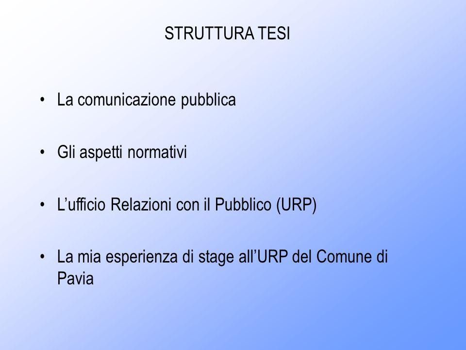 Il mio interesse verso il tema della comunicazione pubblica è cresciuto dopo lo stage presso lURP del Comune di Pavia, dove ho avuto modo di vedere concretizzate alcune teorie approfondite durante questo corso di studi ed anche di notare le eventuali discrepanze tra la pratica e la teoria studiata.