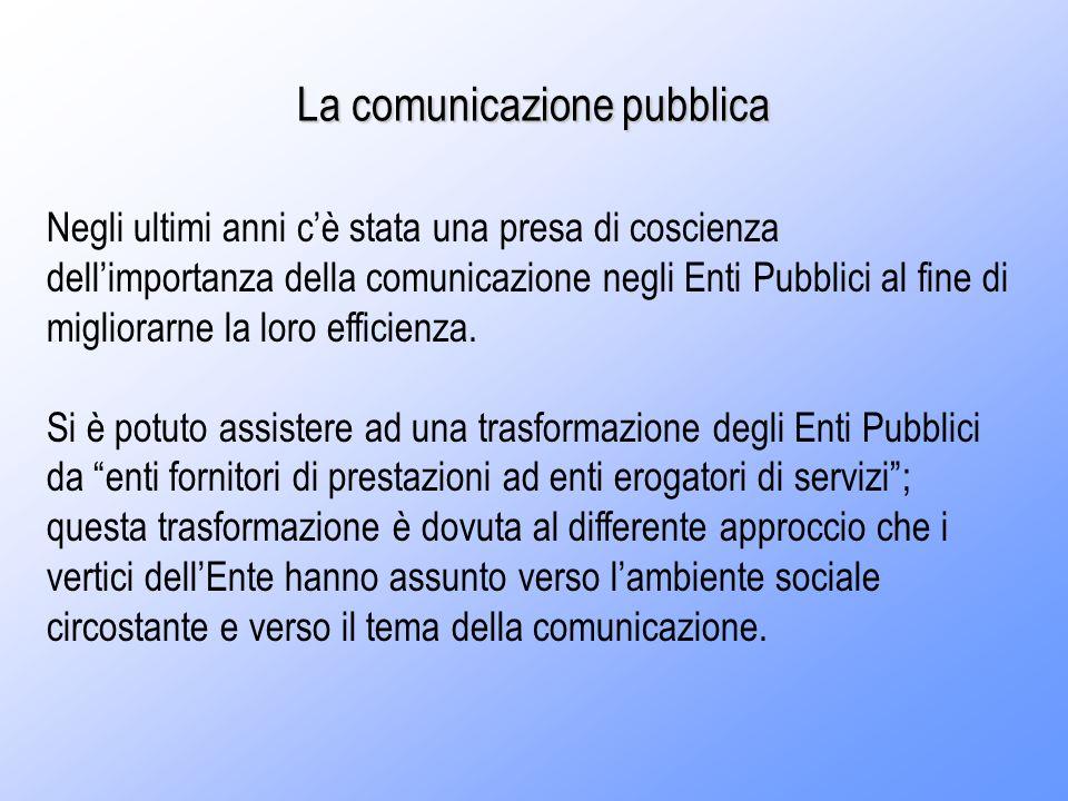 La comunicazione pubblica Negli ultimi anni cè stata una presa di coscienza dellimportanza della comunicazione negli Enti Pubblici al fine di migliorarne la loro efficienza.