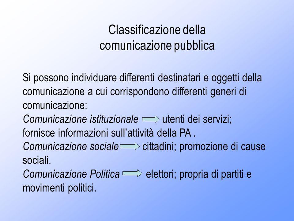 Classificazione della comunicazione pubblica Si possono individuare differenti destinatari e oggetti della comunicazione a cui corrispondono differenti generi di comunicazione: Comunicazione istituzionale utenti dei servizi; fornisce informazioni sullattività della PA.