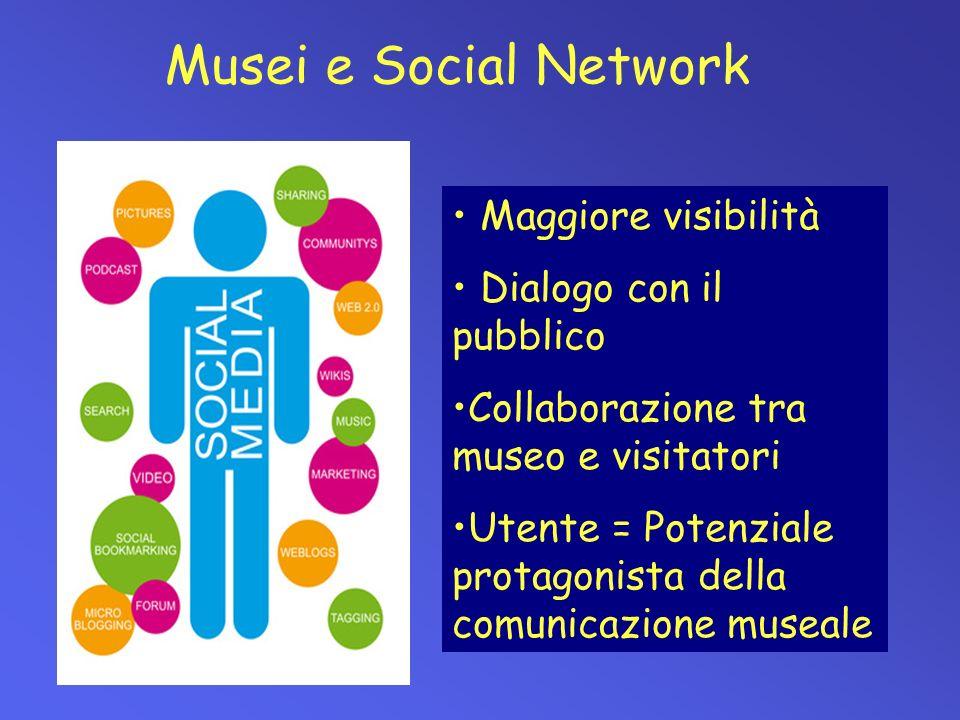 Musei e Social Network Maggiore visibilità Dialogo con il pubblico Collaborazione tra museo e visitatori Utente = Potenziale protagonista della comuni