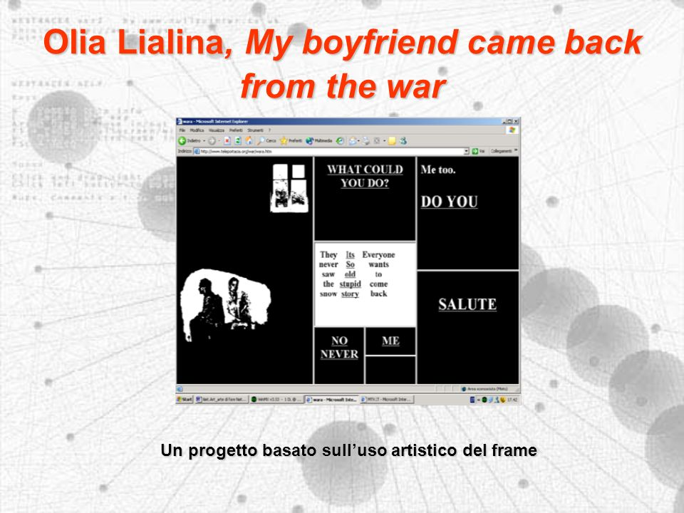 Olia Lialina, My boyfriend came back from the war Un progetto basato sulluso artistico del frame