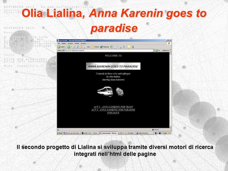 Olia Lialina, Anna Karenin goes to paradise Il secondo progetto di Lialina si sviluppa tramite diversi motori di ricerca integrati nellhtml delle pagine