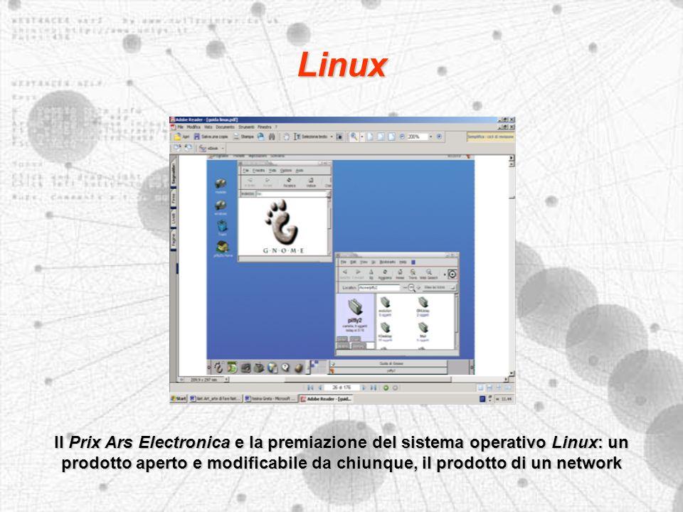 Linux Il Prix Ars Electronica e la premiazione del sistema operativo Linux: un prodotto aperto e modificabile da chiunque, il prodotto di un network