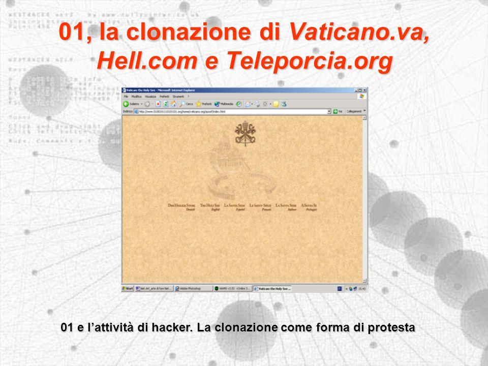 01, la clonazione di Vaticano.va, Hell.com e Teleporcia.org 01 e lattività di hacker.