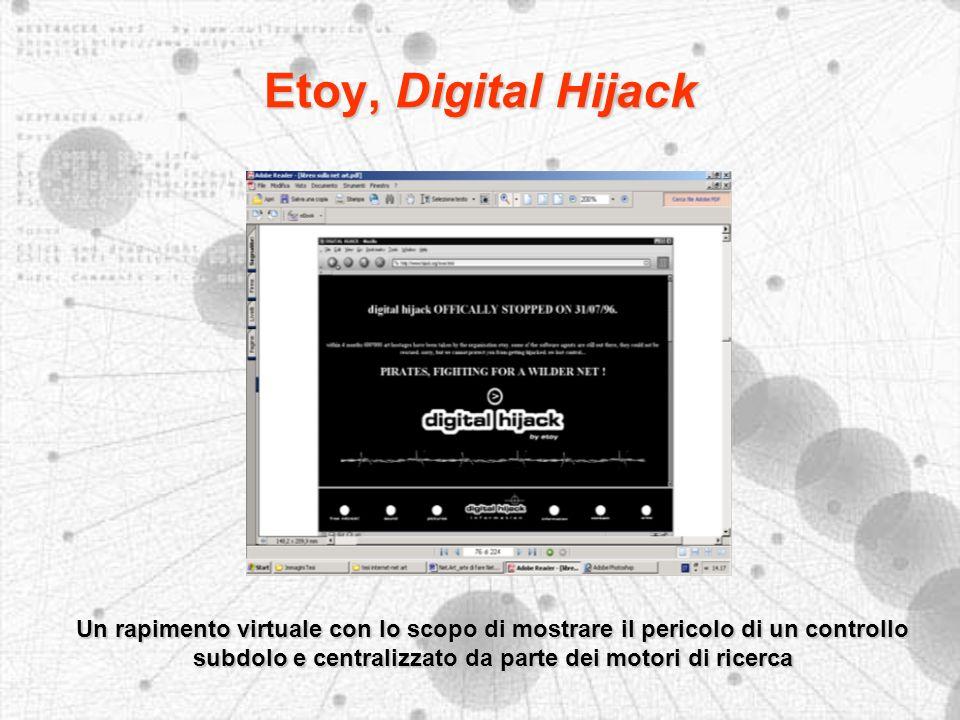 Etoy, Digital Hijack Un rapimento virtuale con lo scopo di mostrare il pericolo di un controllo subdolo e centralizzato da parte dei motori di ricerca