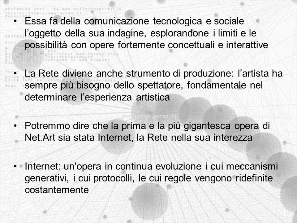 La storia della Net.Art Nata in Europa e in Russia all inizio degli anni novanta, si è sviluppata grazie ad un network di mailing list Un nome scelto dal destino.