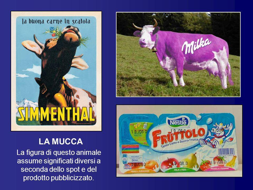 LA MUCCA La figura di questo animale assume significati diversi a seconda dello spot e del prodotto pubblicizzato.