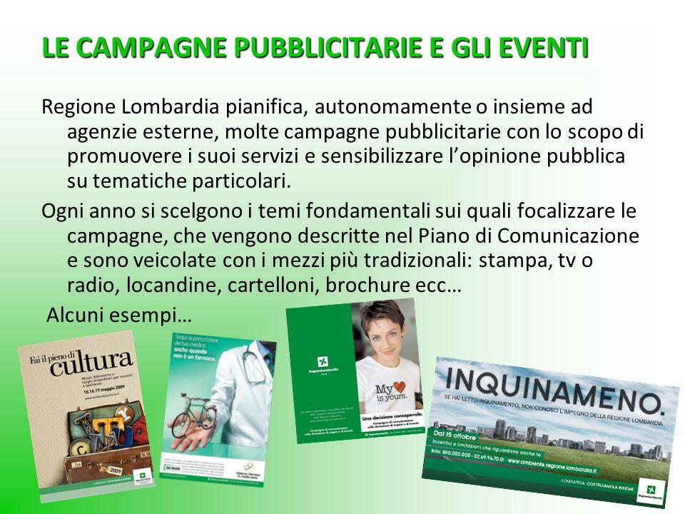 LE CAMPAGNE PUBBLICITARIE E GLI EVENTI Regione Lombardia pianifica, autonomamente o insieme ad agenzie esterne, molte campagne pubblicitarie con lo sc