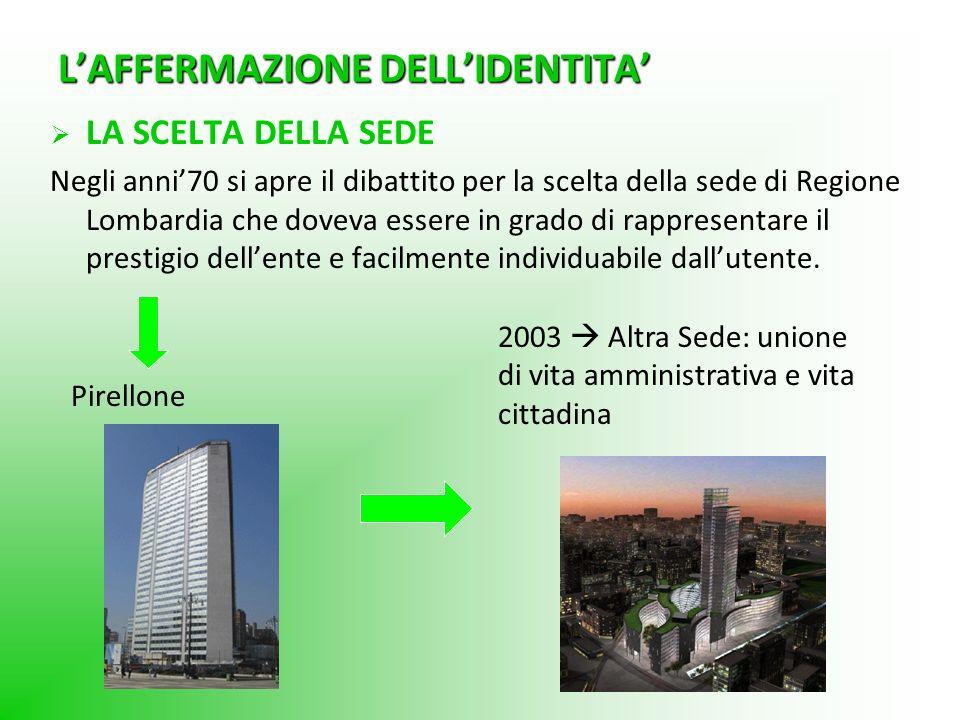 LAFFERMAZIONE DELLIDENTITA LA SCELTA DELLA SEDE Negli anni70 si apre il dibattito per la scelta della sede di Regione Lombardia che doveva essere in g