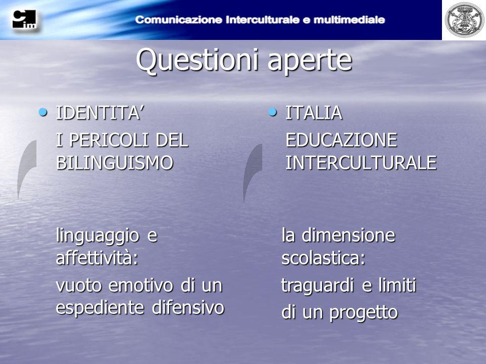 Questioni aperte IDENTITA I PERICOLI DEL BILINGUISMO ITALIA EDUCAZIONE INTERCULTURALE la dimensione scolastica: traguardi e limiti traguardi e limiti