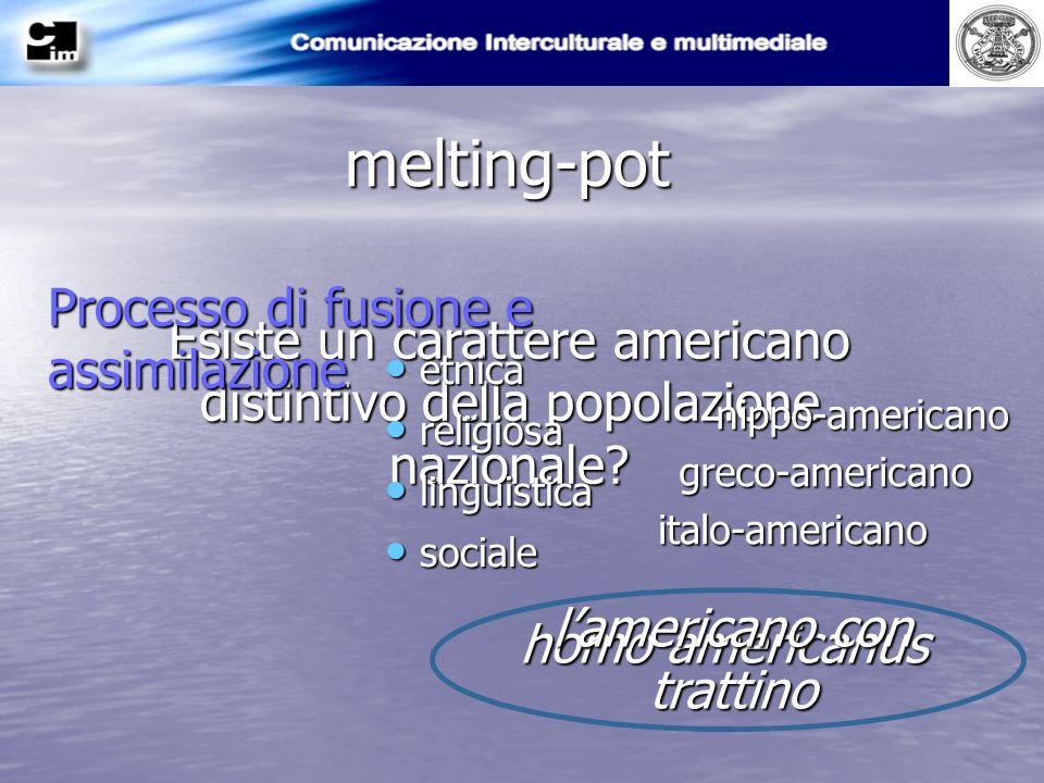 melting-pot Esiste un carattere americano distintivo della popolazione nazionale? homo americanus Processo di fusione e assimilazione e etnica r relig