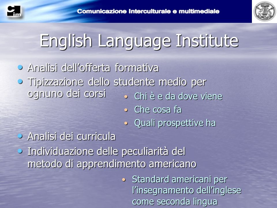 English Language Institute Analisi dellofferta formativa Analisi dellofferta formativa Tipizzazione dello studente medio per ognuno dei corsi Tipizzaz