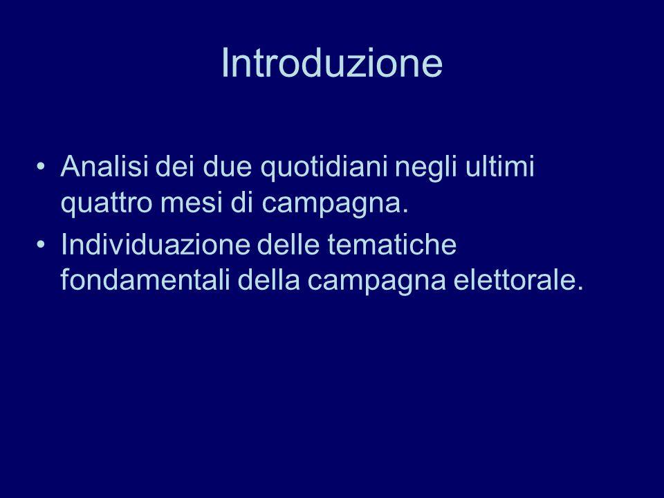 Introduzione Analisi dei due quotidiani negli ultimi quattro mesi di campagna. Individuazione delle tematiche fondamentali della campagna elettorale.