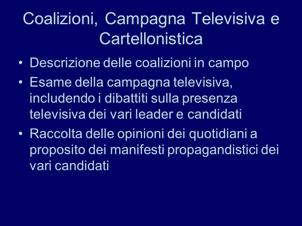 Coalizioni, Campagna Televisiva e Cartellonistica Descrizione delle coalizioni in campo Esame della campagna televisiva, includendo i dibattiti sulla presenza televisiva dei vari leader e candidati Raccolta delle opinioni dei quotidiani a proposito dei manifesti propagandistici dei vari candidati