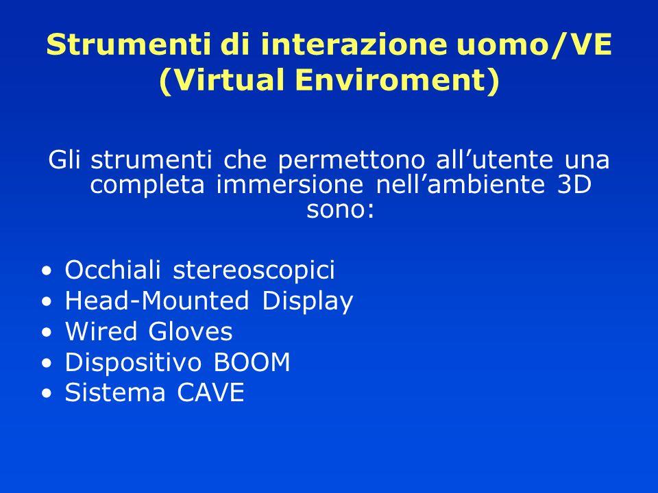 Strumenti di interazione uomo/VE (Virtual Enviroment) Gli strumenti che permettono allutente una completa immersione nellambiente 3D sono: Occhiali st