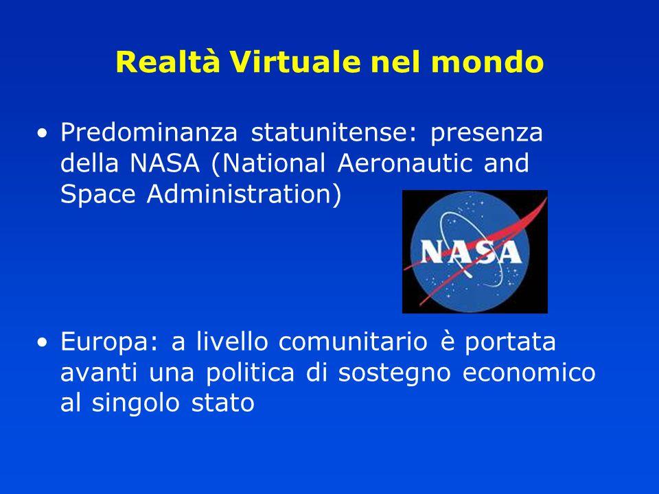 Realtà Virtuale nel mondo Predominanza statunitense: presenza della NASA (National Aeronautic and Space Administration) Europa: a livello comunitario