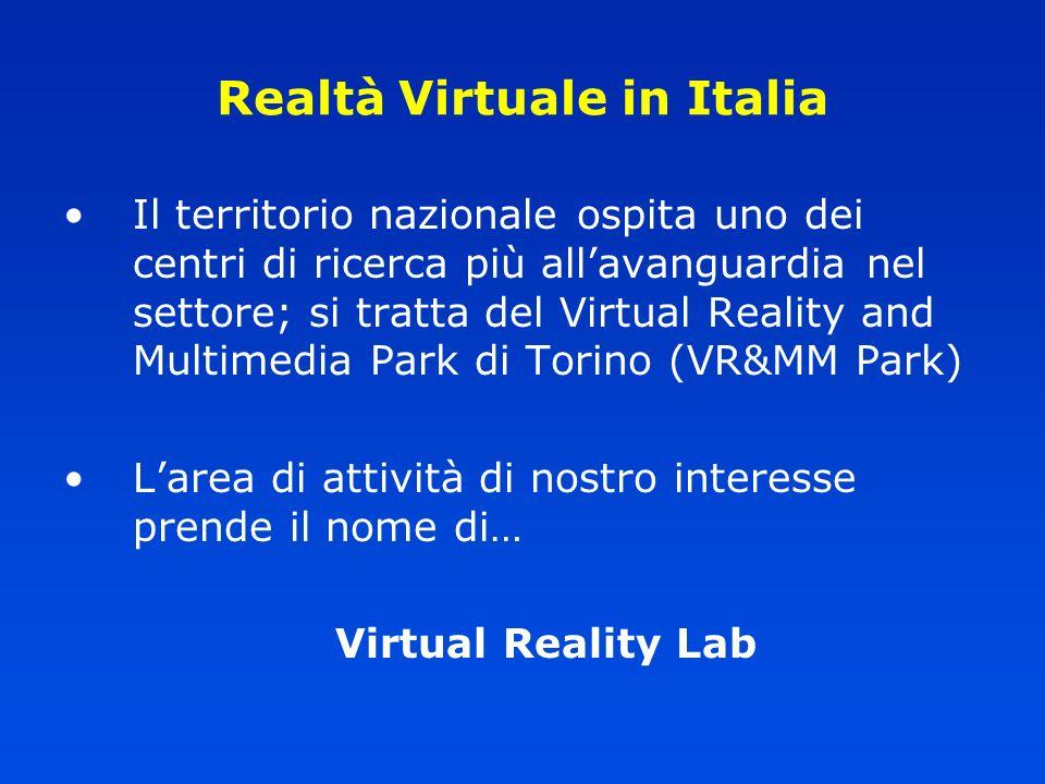 Realtà Virtuale in Italia Il territorio nazionale ospita uno dei centri di ricerca più allavanguardia nel settore; si tratta del Virtual Reality and M