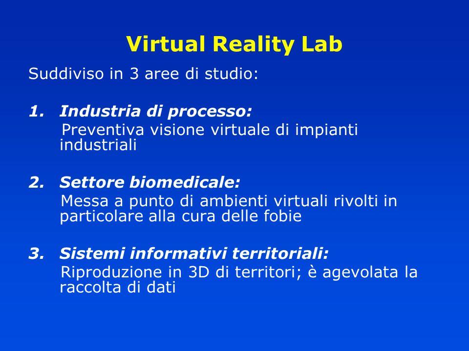 Suddiviso in 3 aree di studio: 1.Industria di processo: Preventiva visione virtuale di impianti industriali 2.Settore biomedicale: Messa a punto di am