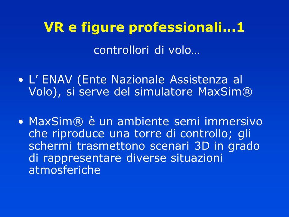 VR e figure professionali…1 controllori di volo… L ENAV (Ente Nazionale Assistenza al Volo), si serve del simulatore MaxSim® MaxSim® è un ambiente sem