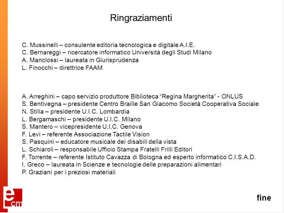Ringraziamenti A. Arreghini – capo servizio produttore Biblioteca Regina Margherita - ONLUS S. Bentivegna – presidente Centro Braille San Giacomo Soci