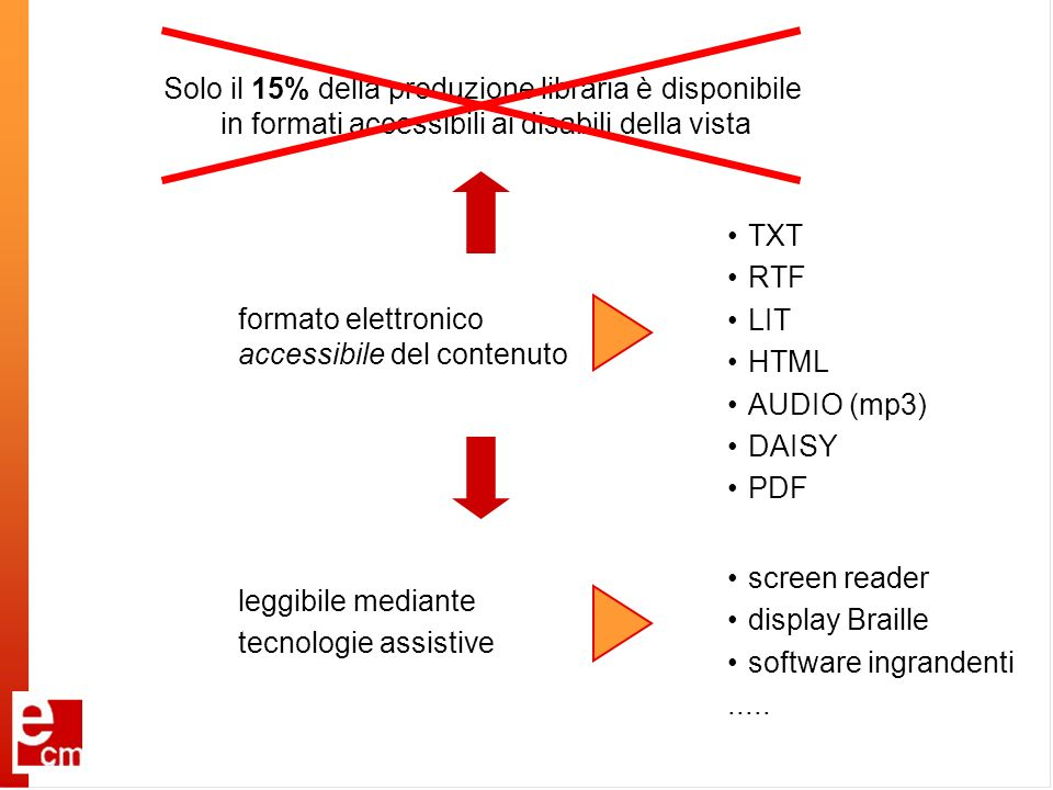 formato elettronico accessibile del contenuto leggibile mediante tecnologie assistive screen reader display Braille software ingrandenti..... TXT RTF